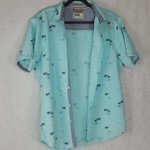 FREE PLANET blue button up shirt palm trees sz xl